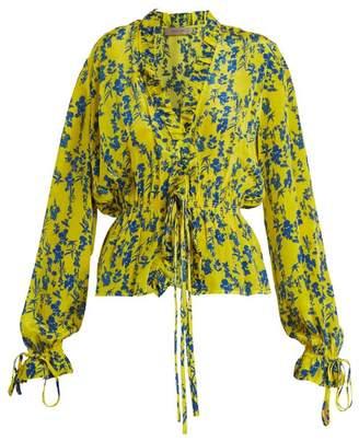 Preen Line Taia V Neck Frill Trim Top - Womens - Yellow Multi