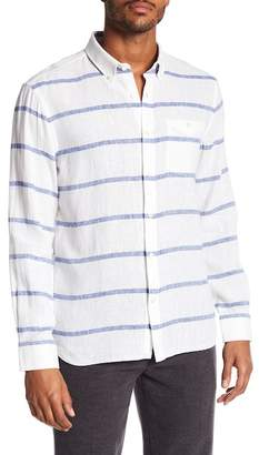 Jack Spade Striped Linen Blend Long Sleeve Shirt