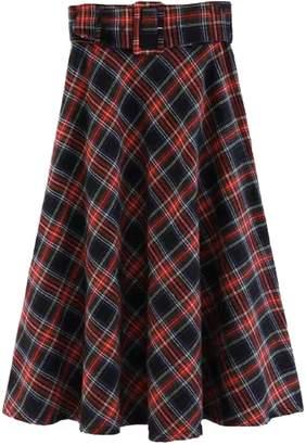 Goodnight Macaroon 'Bucky' English Plaid Belted Midi Skirt