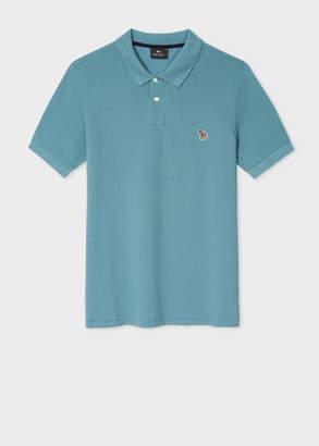 Paul Smith Men's Teal Organic Cotton-Pique Zebra Logo Polo Shirt