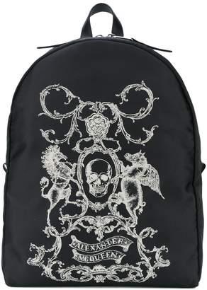 Alexander McQueen skull coat of arms backpack
