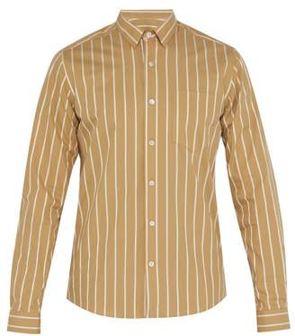 Ami Oversized Striped Cotton Poplin Shirt - Mens - Light Brown