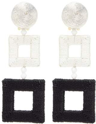 Oscar de la Renta Threaded geometric clip earrings