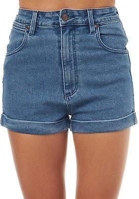 Wrangler New Women's Pin Up Short Cotton Stretch Blue
