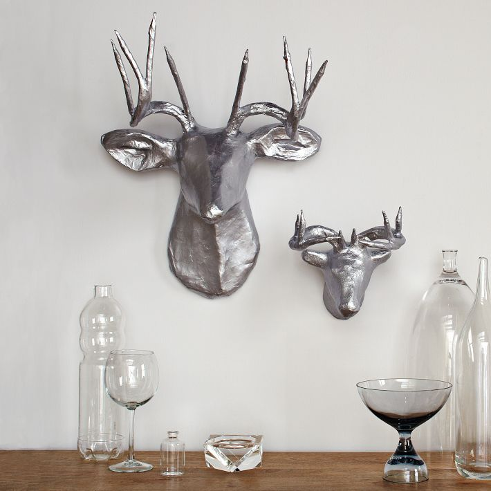 west elm Papier-Mâché Animal Sculptures - Silver Deer
