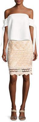 KENDALL + KYLIE Crochet-Overlay Pencil Skirt