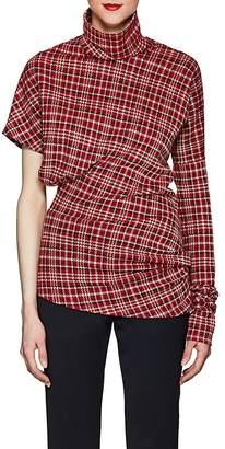 Calvin Klein Women's Plaid Cotton-Blend Jacquard Asymmetric Top
