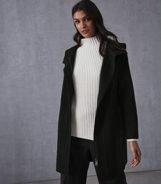 Reiss Delaney Wool Blend Hooded Coat