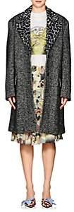 Prada Women's Leopard-Lapel Wool-Alpaca Tweed Coat - Black
