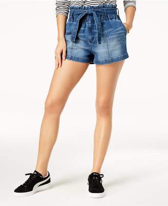 Tinseltown Juniors' Paper-Bag Denim Shorts