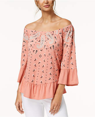 Style&Co. Style & Co Petite Bandana-Print Off-The-Shoulder Top, Created for Macy's