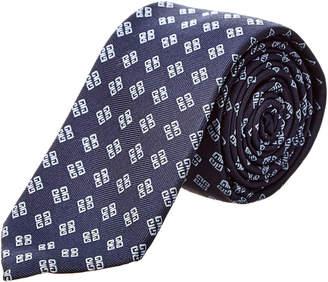 Givenchy Blue Logo Silk Tie