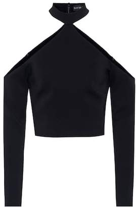 David Koma Cropped crêpe top