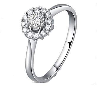 JeenJewels 0.63 Carat Halo Inexpensive Engagement ring with Round cut Diamond on 10K White gold