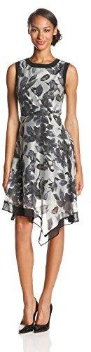 Adrianna Papell Women's Side-Drape Chiffon-Print Dress