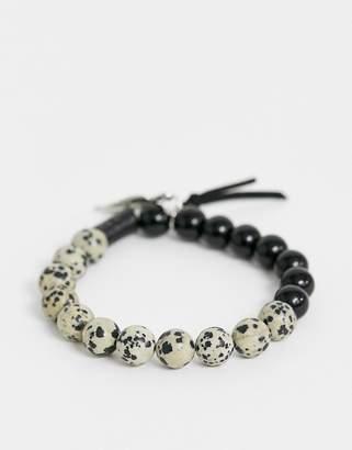 Asos Design DESIGN beaded bracelet with semi precious stones in monochrome