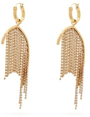 Ellery Latham Crystal Strand Drop Earrings - Womens - Gold