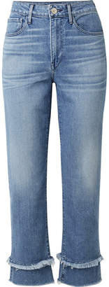 3x1 W3 Petal Higher Ground Frayed High-rise Slim-leg Jeans - Mid denim