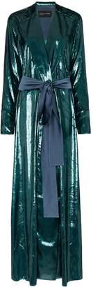 Michael Lo Sordo High-shine belted blazer maxi dress