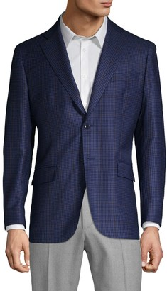 Lubiam Mini Check Wool Suit Jacket