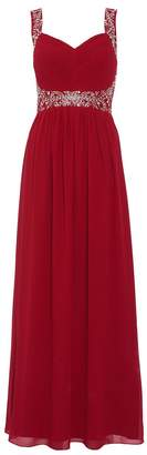 Quiz Raspberry Chiffon Embellished Maxi Dress