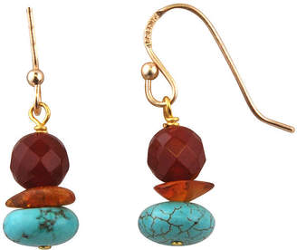 Artsmith BY BARSE Art Smith by BARSE Brass Turquoise, Amber and Carnelian Drop Earrings
