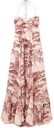 Zimmermann Kali Printed Linen Halterneck Maxi Dress - Brick