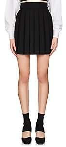 Palm Angels Women's Floral-Tape Pleated Miniskirt-Black