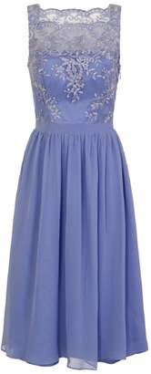 Dorothy Perkins Womens *Chi Chi London Blue Embroidered Midi Fit And Flare Dress