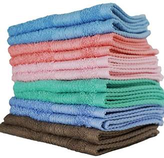 "Ringspun Luxurious Washcloths – Set of 12 – Size 13"" x 13"" – Thick Loop Pile Washcloth – Absorbent and Soft 100% Ring-Spun Cotton Wash Cloth – Lint Free Face Towel – Wash Cloths Perfect for Bathroom"