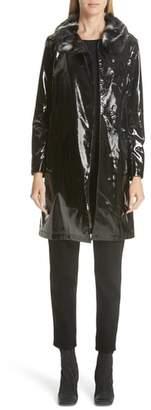 Shrimps Faux Leather Coat with Leopard Print Faux Fur Collar