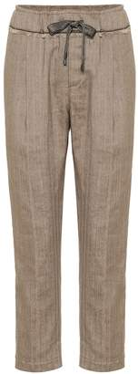 Brunello Cucinelli Cotton and linen cropped pants