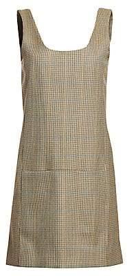 Rokh Women's Wool Plaid Sleeveless Shift Dress