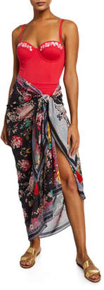 Johnny Was Mono Floral-Print Sarong Coverup