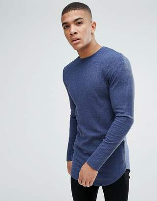 Asos Design Super Longline muscle fit Long Sleeve T-Shirt In Textured Rib In Blue Marl