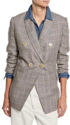 Brunello Cucinelli Double-Breasted Linen Glen-Plaid Blazer