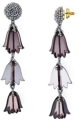 Oscar de la Renta Beaded Bellflower Clip-On Drop Earrings