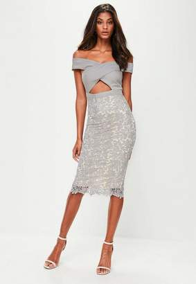 Missguided Gray Crepe Bardot Lace Midi Dress