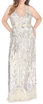 Mac Duggal Plus Size Sequin Overlay V-Neck Racerback Column Gown