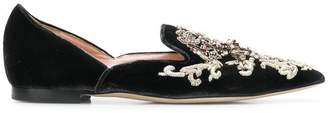 Alberta Ferretti embroidered slip-on shoes