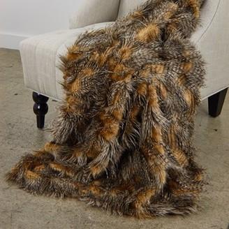 Plutus Brands Plutus Porcupine Mocha Faux Fur Luxury Throw
