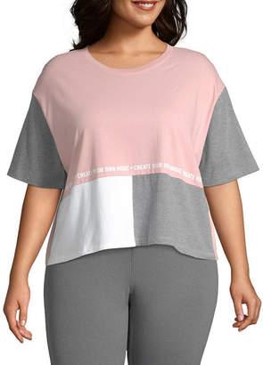 Flirtitude Womens Crew Neck Short Sleeve T-Shirt Juniors Plus