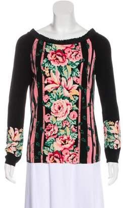 Blumarine Floral Print Knit Sweater