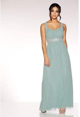 Quiz Sage Green Chiffon V Neck Embellished Maxi Dress