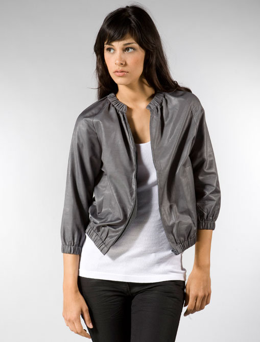Built by Wendy Shiny Coated Poplin Cropped Bomber in Grey