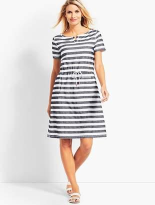Talbots Textured Santorini Stripe Drawstring-Waist Dress