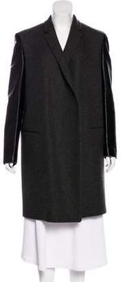 Celine Leather-Paneled Wool Coat