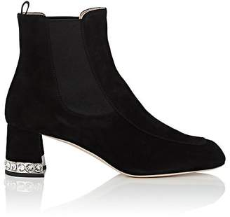 Miu Miu Women's Crystal-Inset Suede Chelsea Boots