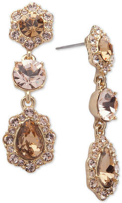 Givenchy Crystal and Pave Triple Drop Earrings