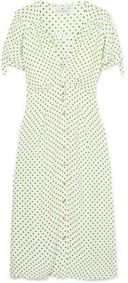 Faithfull The Brand Billie Polka-dot Crepe Midi Dress - Green
